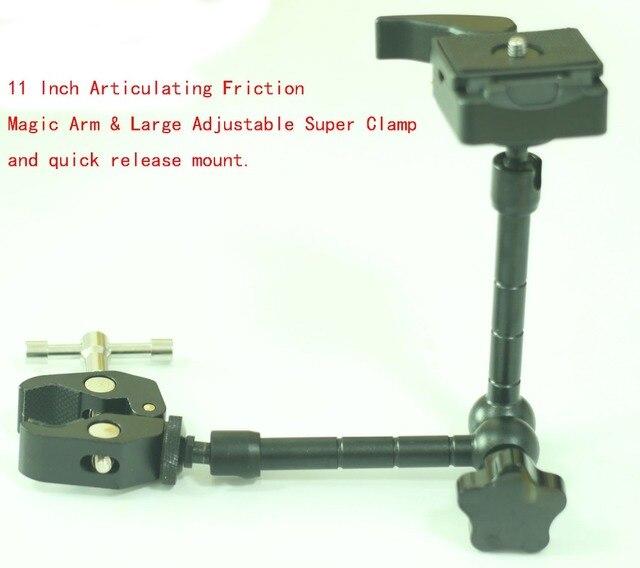 Bras magique de 11 pouces et grande pince Super tige réglable, ensemble QR pour trépied de caméra Fr Manfrotto 244RC