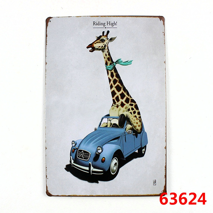 Riding high! car metal signs vintage tin plate iron painting wall decoration for home bar cafe garage
