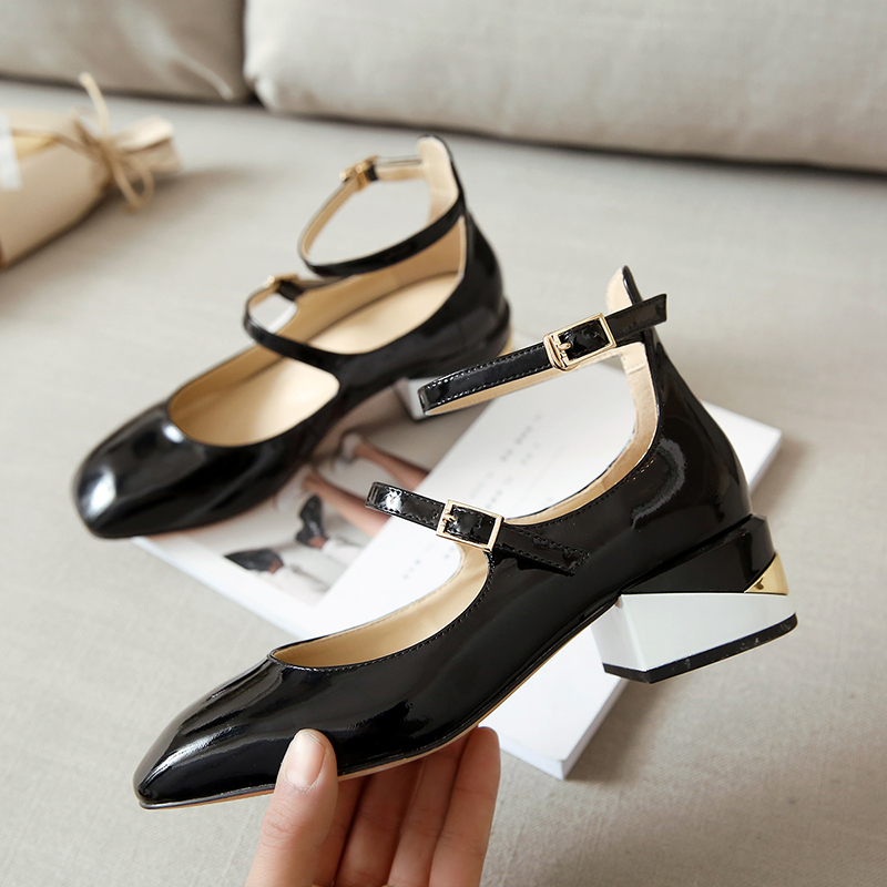 Women s Patent Leather Low Heel Ankle Strap Mary Jane Flats Brand Designer  Square Toe Gold Color Shoes for Women Female Footwear-in Women s Flats from  Shoes ...