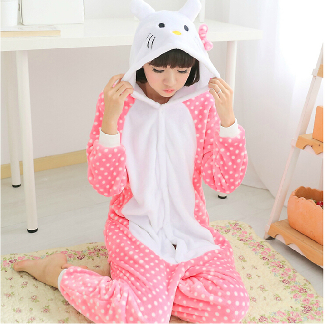 Adult Woman Lady Winter Warm Flannel fleece Hello kitty cat Onesies Pajamas  Sleepwear Halloween Cosplay Costumes Cartoon Pyjamas e88d73278