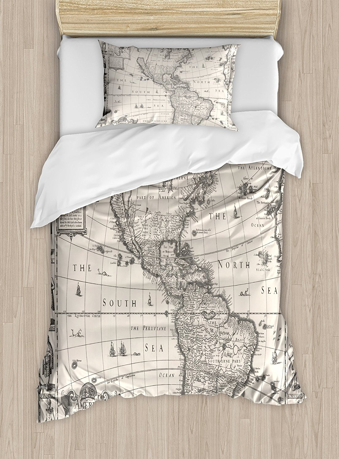 World Map Duvet Cover Set Antique Map America in 1600s World in Medieval Time Ancient Era in Retro Style 4 Piece Bedding Set