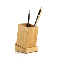Storage Organizer Bamboo Pen Case Pencil Stand Container Stationary Study Round Pen Holders H0073