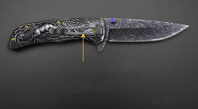 JUFULE Original Design Deer Damascus pattern camp hunt pocket survival EDC tools tactical outdoor flipper folding kitchen knife 3