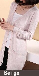 Image 2 - 2019 New Fashion Long Cardigan Cashmere Wool Blend Sweater Ladys V neck Long Sleeve Sweater Free Shipping