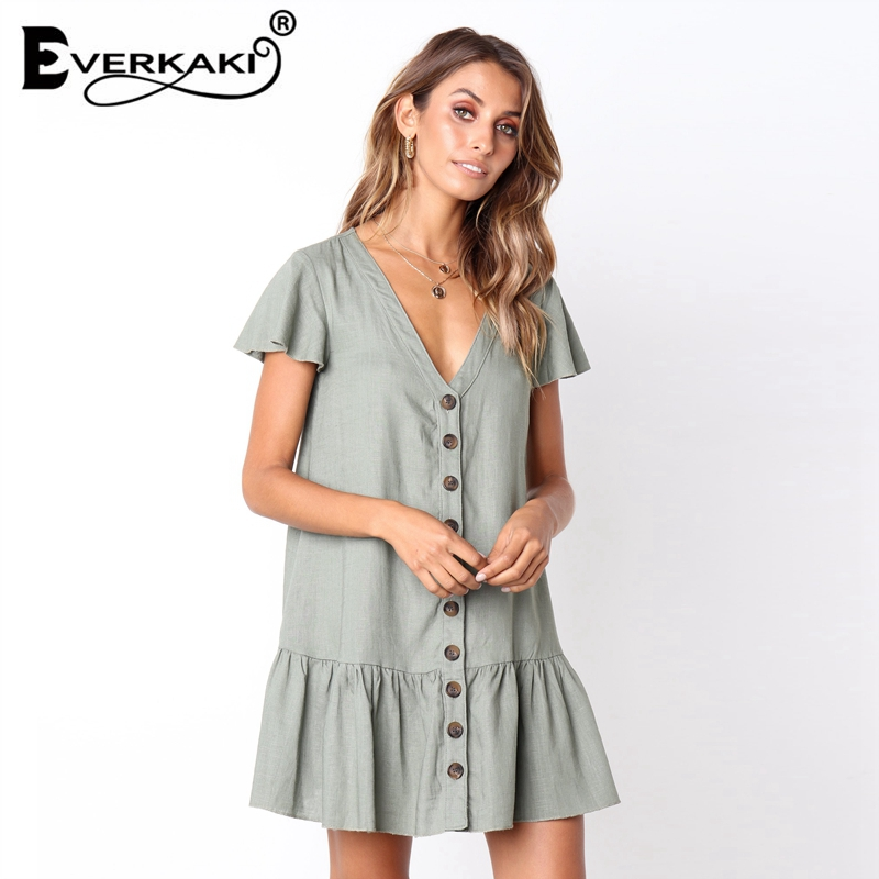 Everkaki Casual Loose Green Mini Dress Women Cotton Single-Breasted Button Ruffles Dress Red Solid White Dress Summer 2018