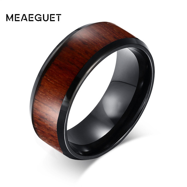 Meaeguet Wood Inlay Dome Wedding Band Ring For Men S Jewelry Tungsten Carbide Rings Engagement Design