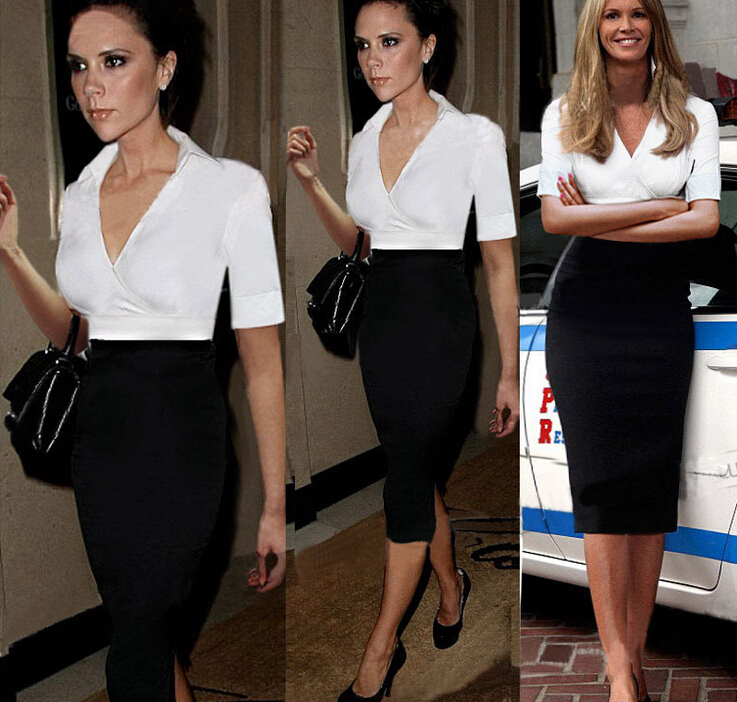 2325159b58b 2015 Women white   black Elegant patchwork wrap Work Business Casual office  evening party Dress clothing long sleeve dress china