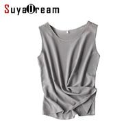 Women Silk Tank Tops 100 Natural Silk Shirt Sleeveless Chiffon Tanks Solid Basic Top Shirt 2017