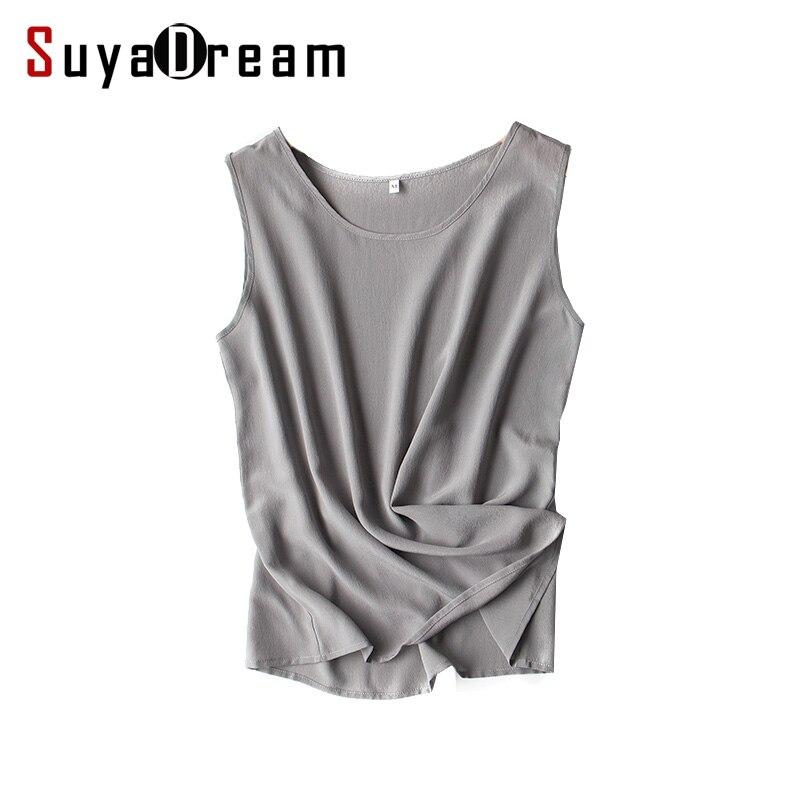 Women silk   tank     tops   100% Natural silk shirt Sleeveless Chiffon   Tanks   Solid basic   top   shirt 2018 Summer Gray Black Pink Wine