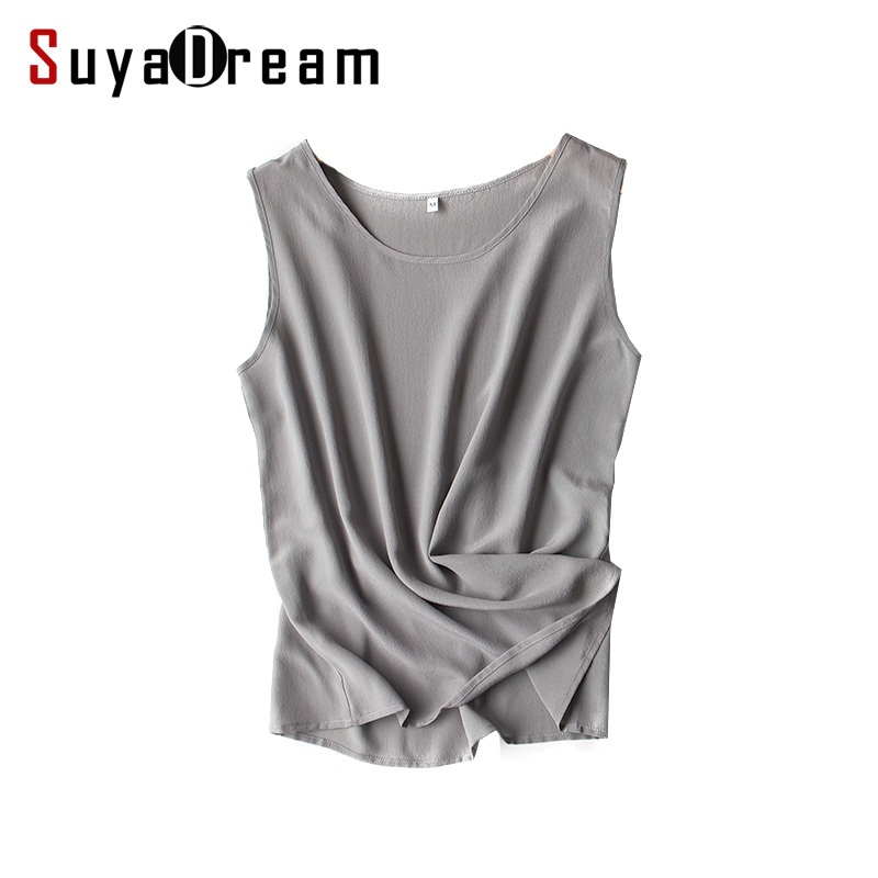 Women silk tank tops 100% Natural silk shirt Sleeveless Chiffon Tanks Solid basic top shirt 2018 Summer Gray Black Pink Wine