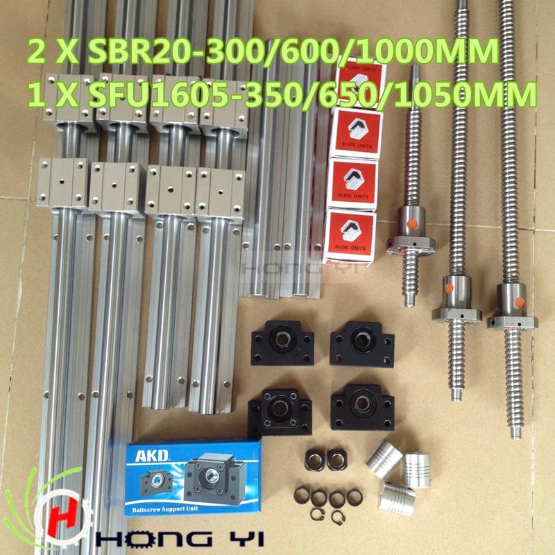 2pcs linear guide SBR20 L = 300/6001000MM & 3pcs BALLSCREW RM1605 - 350/650/1050MM & 3pcs BK12 BF12 & 3pcs Couplers 6.35 * 10 sesibibi 3pcs цвет случайный