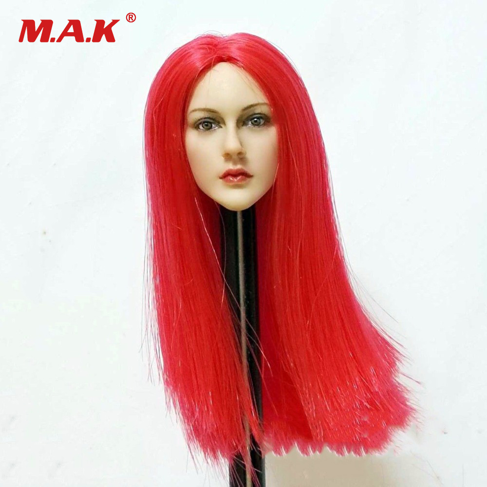 1/6 Scale Scale Female Red Long Hair Head Sculpt Headplay Head Carving Model Female For 12 PH 1/6 Action Figure Accessories 1 6 head sculpt kumik star model male figure headplay head carving for 12 action figure collection doll toys gift kumik15 20