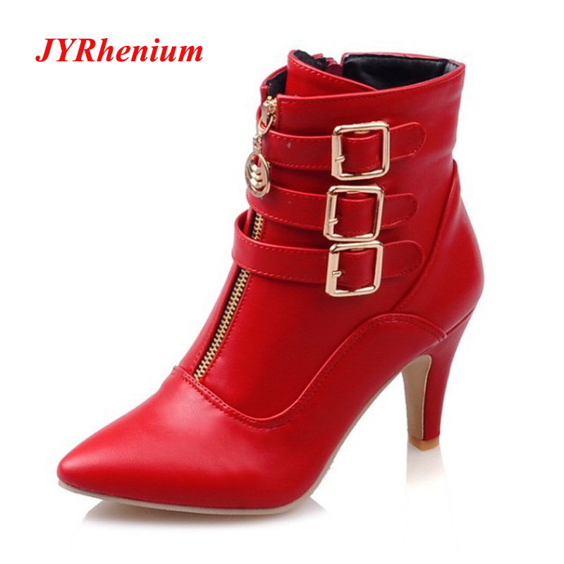 JYRhenium 2018 Women Ankle Boots Classic Fashion Red Boots Pointed Toe High Heels Shoes Buckle White Boots Women Leather Boots плиткорез электрический rubi du 200 evo 55903