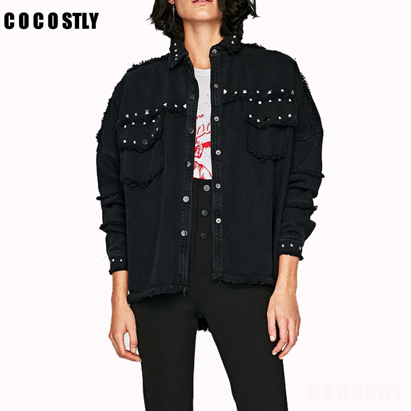 Studded Frayed Hem Denim Jacket Women   Coats   Black Lapel Single Breasted 2018 Women's Jackets and   Coats