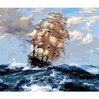 Diy The Sailboat In The Ocean Painting By Numbers Hand Painted Canvas Oil Paintings Living Room