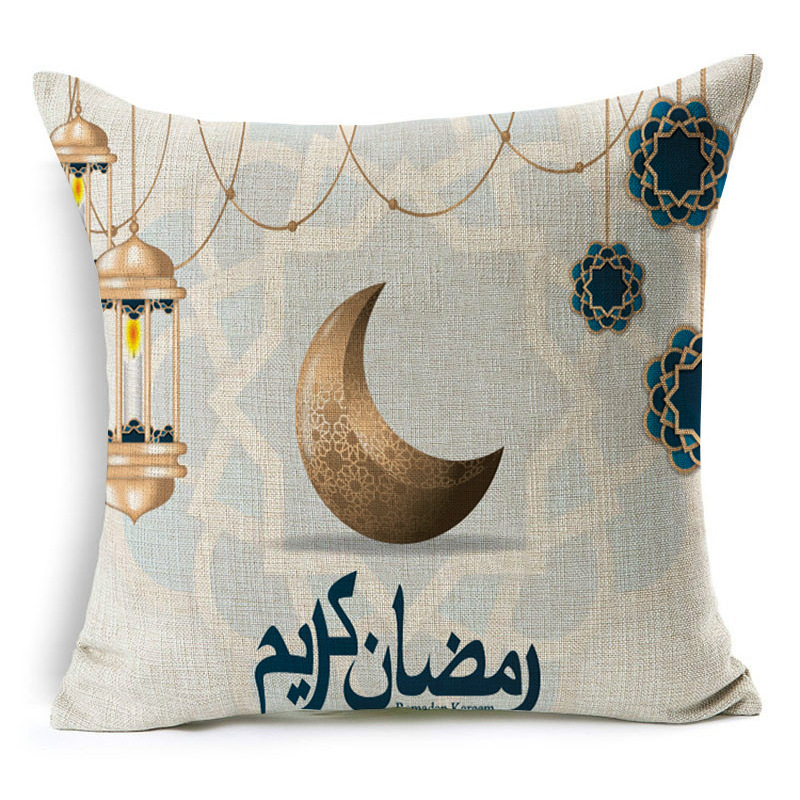Ramadan Islamic Eid Mubarak For Home Decorations Pillow Case Decor Sofa Cotton Muslim Mosque Decorative Cushion Cover 45X45CM