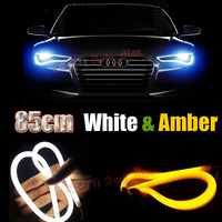 2x 85cm White Amber Switchback DRL With Turn Signal Flexible Tube Style LED Strip Car Motorcycle