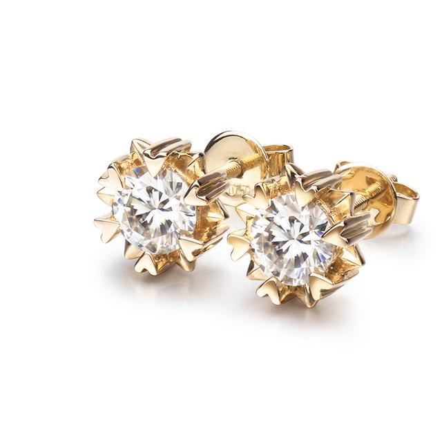 Classic Engagement Earrings 18K Yellow Gold Round Shape 1 Carat Moissanite Diamond Screw back Stud Earrings for Women