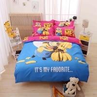 3d Cartoon Banana Minions Bedding Set Twin Full Queen Size Despicable Me Bed Linen for Kid Gift Duvet Cover Bed Sheet Pillowcase