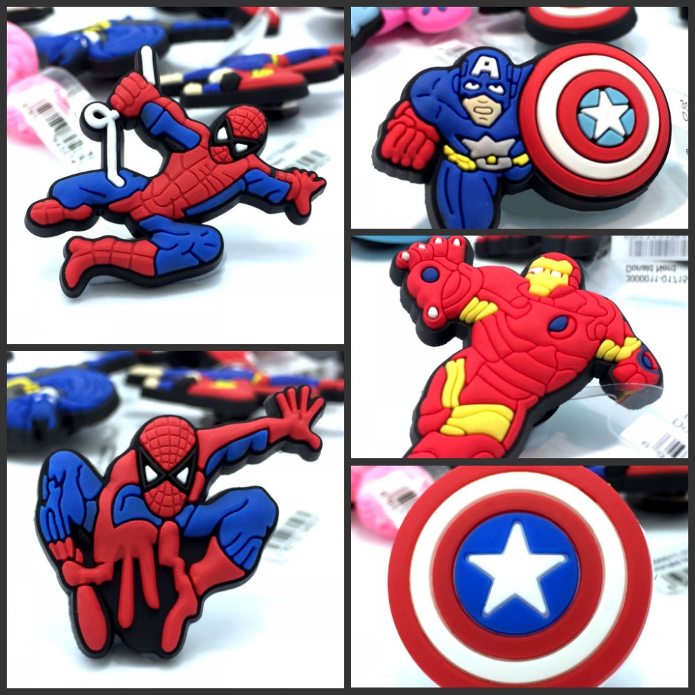 Mixed Styles 10pcs High Quality The Avengers Shoe Charms Accessories Party Home Decoretion Kids Children Gift Fashion 1pcs high quality hello kitty hot cartoon shoe charms accessories party home decoretion kids children gift fashion
