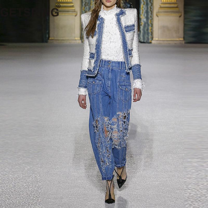 Getsring Veste Longues Deux Lâche Taille Femmes Haute Pièces À Épissage Costumes Tweed Définit Jeans Trou Cowboy pants Denim De Coat Manches Nouveau Set zzfw8qr
