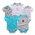 5pcs/ lot Baby Romper Hanging blue car Short Sleeve Boys Clothing set,Baby boys Clothes 0-3,-6,6-9,-12 months