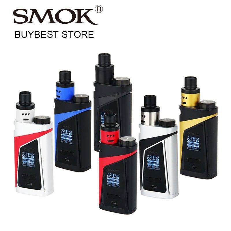 100% Kit de Vape de boîte d'origine SMOK SKYHOOK RDTA tout en un Style avec atomiseur de réservoir intégré 9ml et 220W Skyhooh boîte MOD e-cigs Kit