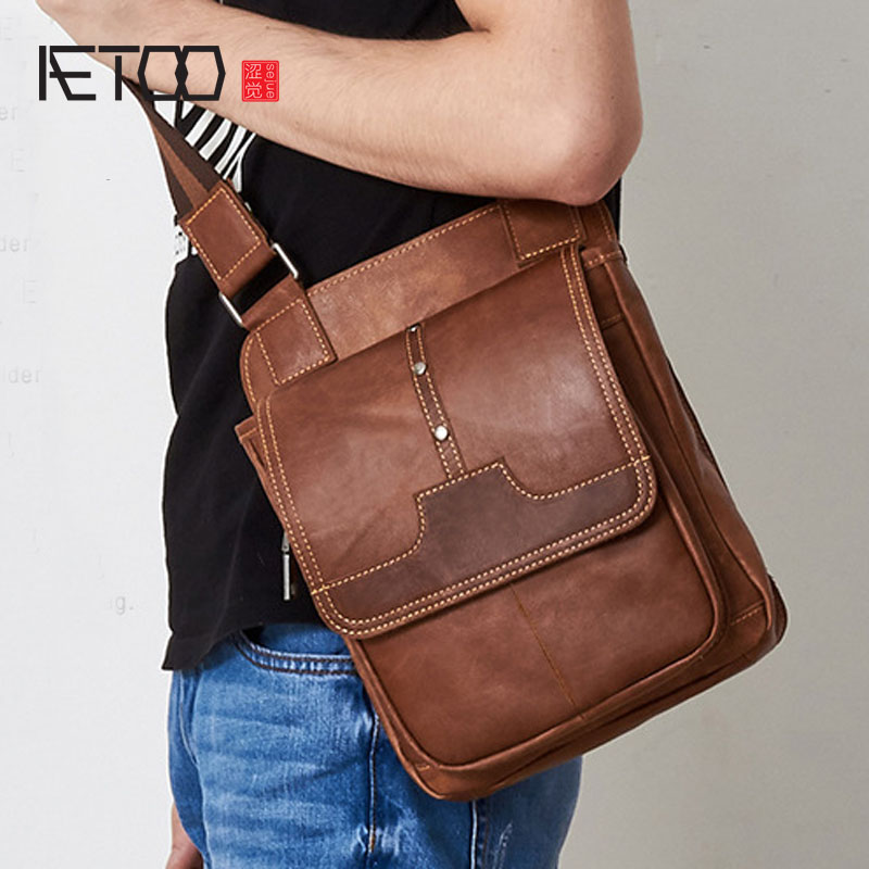 AETOO Leather men's first layer of leather men's Messenger bag shoulder bag Korean new casual vertical section across the packag aetoo first layer of leather shoulder bag female bag korean version of the school wind simple wild casual elephant pattern durab