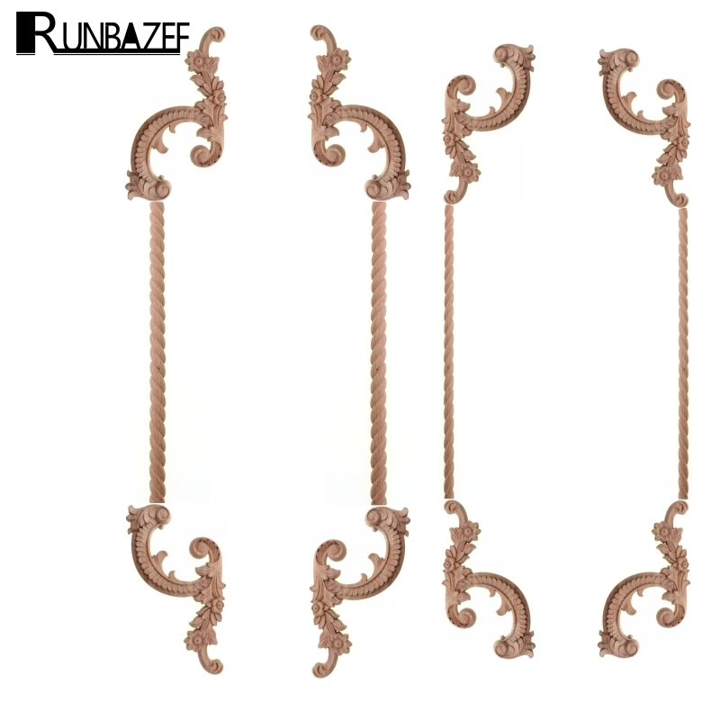 RUNBAZEF Applique Of Real Wood Door Corner Flower Furniture Decorative Home Decoration Accessories Head Miniaturas Figurine