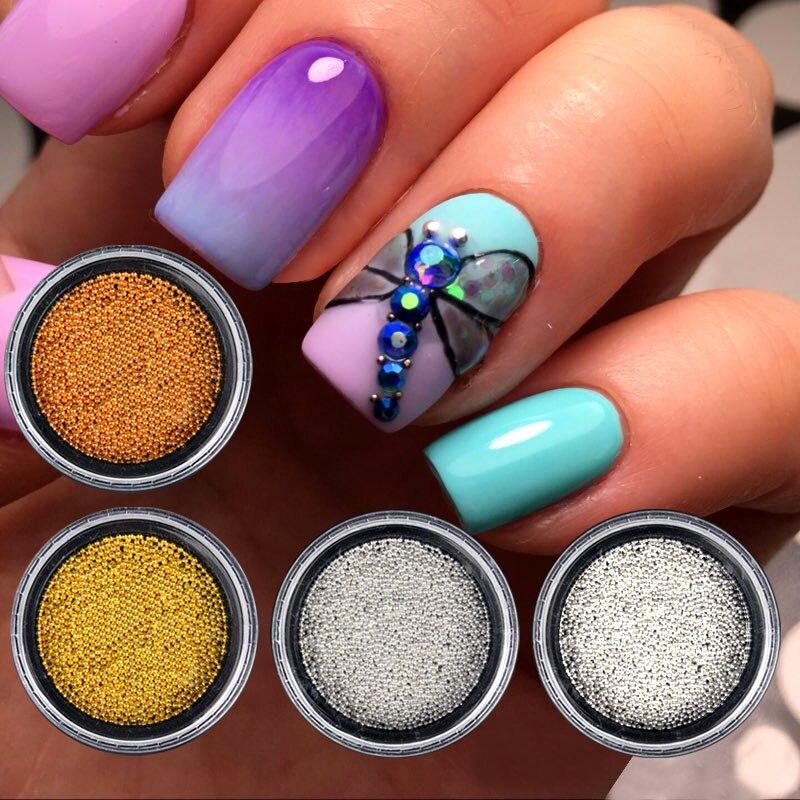 Mini Caviar Metal Beads Steel Ball Nail Stud CAVIAR BEADS ROSE GOLD Crystal 3D Micro Ball Nail Art Charm