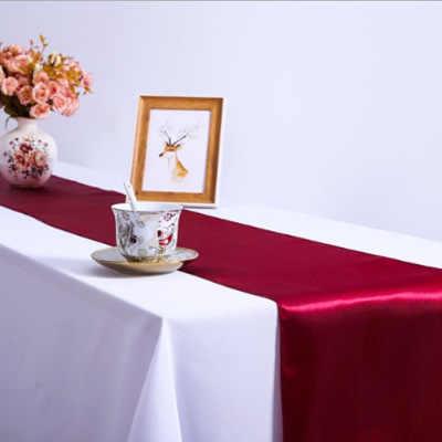 RU033A День Рождения вечерние свадебные черный Королевский синий бордовый красный Румяна Розовый цвет шампанского фиолетовый желтый серебряный красный атласный настольный бегун