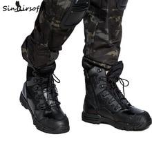 SINAIRSOFT EE.UU. Asalto Táctico Militar Botas Transpirable de Cuero Genuino Al Aire Libre Antideslizantes Hombres Zapatos de Senderismo Viajes de Pesca