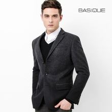 BASIQUE high quality 2015 new spring autumn men slim deep grey Gradient 50% wool warm suits blazers pocket casual business coat