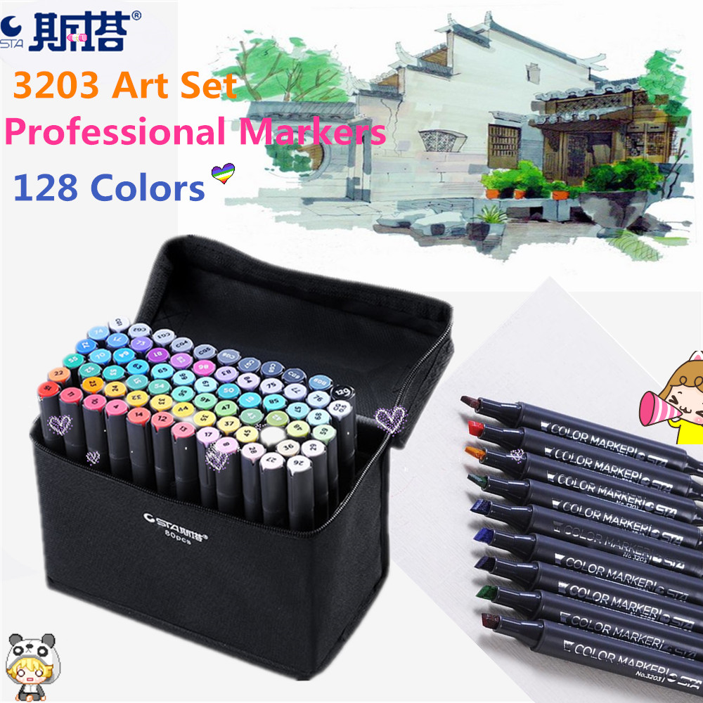 STA 3203 Serie 30/60/80/128 Colors Markers Pen Set Double Head Set Copic Marker Pens for Design Sketch Markers Drawing Art Manga sta 24color copic marker art sketch design marker double head art markers paint marker for office school student art supplies