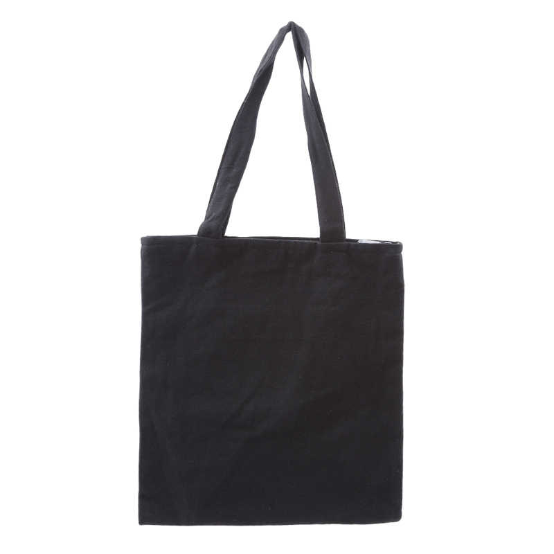 4e4b03af524 ... Large Black Canvas Tote Bag Reusable Shopping Bag Foldable Folding  Fabric Cloth Cotton Eco Grocery Bags ...