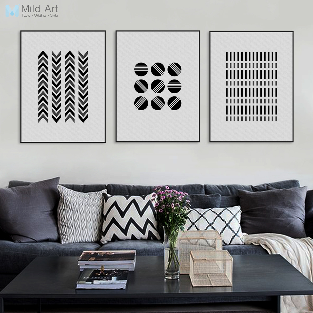 Μαύρο Άσπρο Μοντέρνα Αφηρημένη Γεωμετρική καμβά σχήματος Μεγάλη εκτύπωση τέχνης A4 εκτύπωσης Εικόνες σκανδιναβικού τοίχου Αρχική διακόσμηση Ζωγραφική χωρίς πλαίσιο