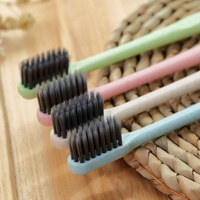 K-866 cepillo de dientes de paja de trigo cepillo de limpieza de dientes cepillo de cerdas de carbón de bambú suave Delgado cepillo de dientes para adultos niños Envío Directo