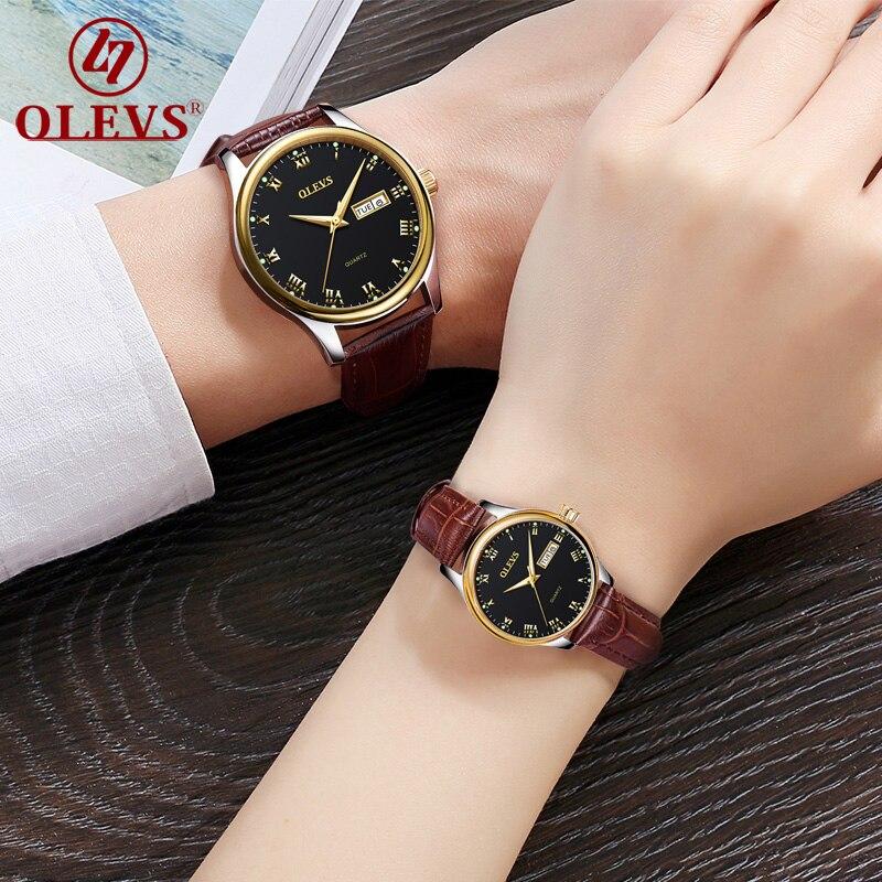 Couple montres Pour Amant de Quartz hommes femmes montre de luxe top marque OLEVS montre étanche En Cuir De Mode Lumineux horloge Nouveau uhr