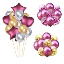 14pcs Mixed Metallic Confetti Balloons Wedding Star Heart Helium Happy Birthday Party Decorations Colorful Latex Ballon