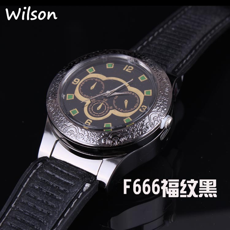 F666 USB charging watch men creative personality USB windproof lighter electronic cigarette PU leather Mens round wristWatc lighter watch men s sports casual quartz watches with leather strap windproof flameless cigarette lighter usb charging f665