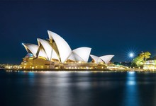 Laeacco Sydney Opera House Australia Night Scenic Photographic Backgrounds Customized Photography Backdrops For Photo Studio