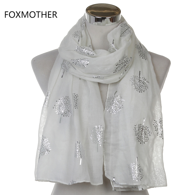 Dropshipping 2019 New Spring Summer Fashion Ladies White Navy Bronzing Silver Metallic Tree Glitter Scarf Scarves Gifts 2