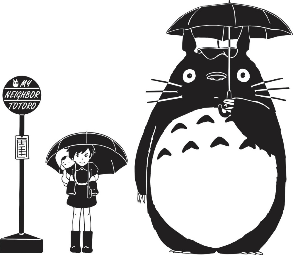Bus Stop Wall Decal My Neighbor Totoro Removable Interior Vinyl Stickers For Kids Rooms Animal Art Mural Umbrella Pattern SYY543