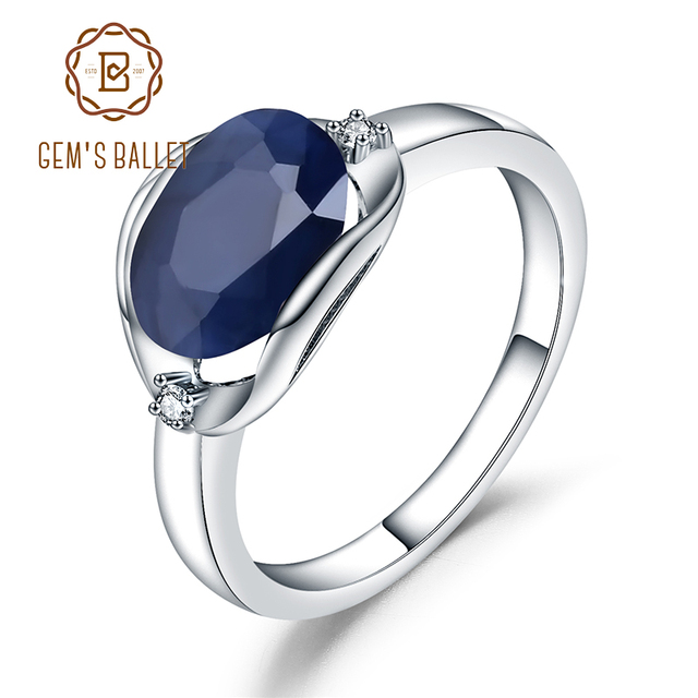 GEMS BALLET 925 Sterling Silver Engagement Rings 3.24Ct Natural Blue Sapphire Gemstone Ring for Women Fine Jewelry