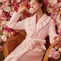 Robe Winter Women Long Gown Elegant Bathrobe Coral fleece Robes Pink Sleepwear Warm Robe For Ladies Homewear Robe High Quality