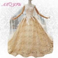 AXJFU Princess golden lace sparkly luxury veil evening dress turkey illusion crystal evening dress 100% real photo 307444