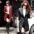 2016 осень зима новый кожаная одежда модная одежда женский средней длины тонкий одна кнопка костюм воротник кожаное пальто женщина