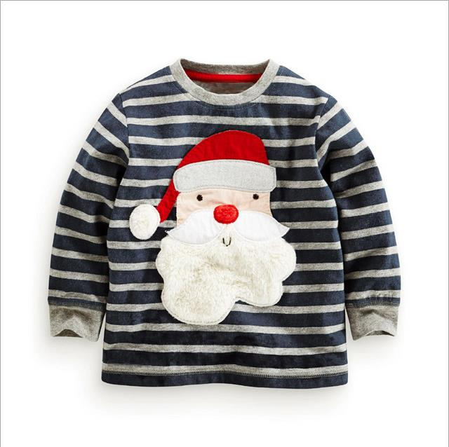 New 2017 Brand 100% Cotton Baby Boys t shirts Kids Clothing Clothes Children Long Sleeve t-shirt Santa Claus Boys Blouse