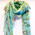 Birds Green Spring Scarf Summer Scarf christmas gift