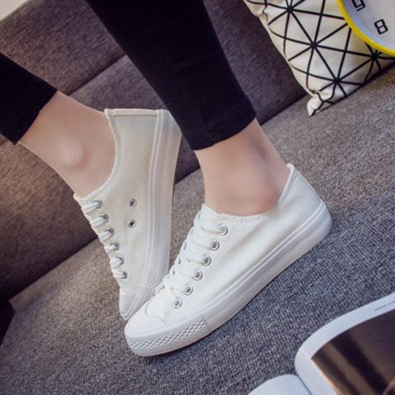 2018 fashion Women sneaker walk Comfortable canvas white shoes laces female summer vulcanize student women shoes tenis feminino
